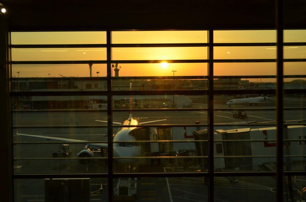 Heathrow, me presenteando com um por-do-sol na minha chegada em Londres.