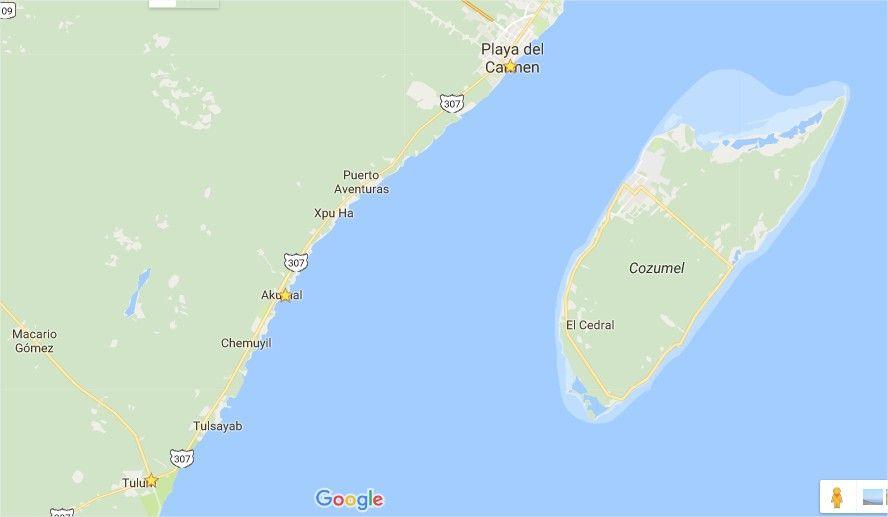 Mapa: Playa del Carmen - Akumal - Tulum