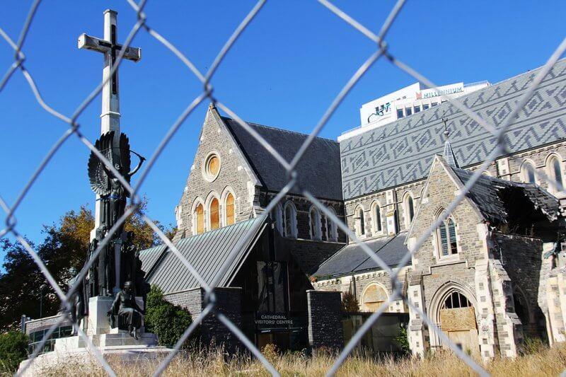 Catedral de Christchurch - Devastada pelo terremoto e não faz parte das atrações imperdíveis da cidade
