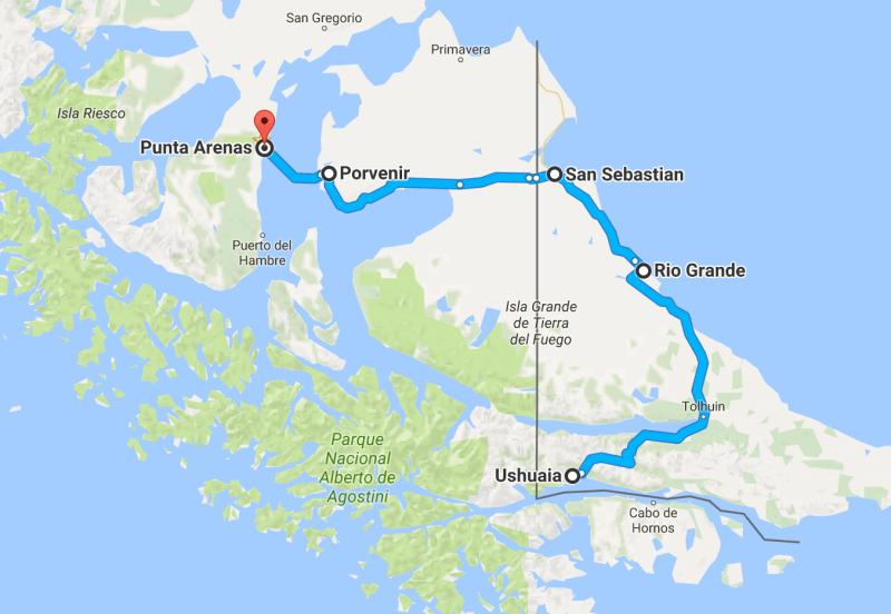 Patagonia de carro - Mapa