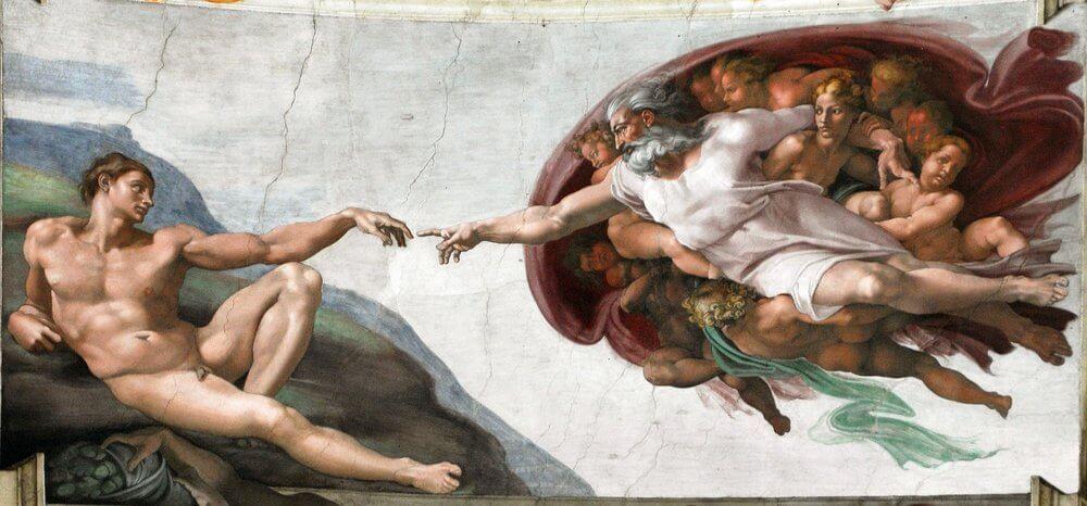 mais famosas obras de arte do mundo - Criação de Adão - Encontre no teto da Capela Sistina, Vaticano