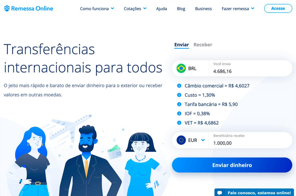 enviar remessa de dinheiro com o Remessa Online