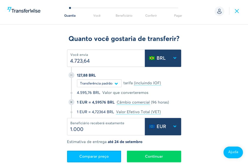 enviar dinheiro para o exterior com o transferwise