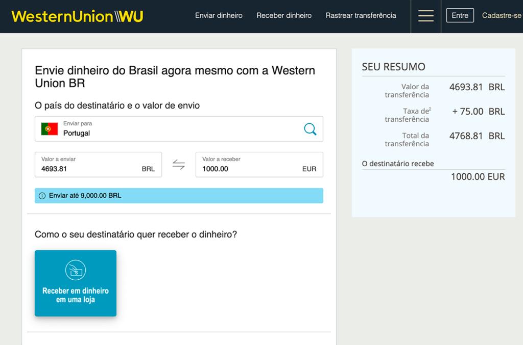 enviando remessa de dinheiro via western union