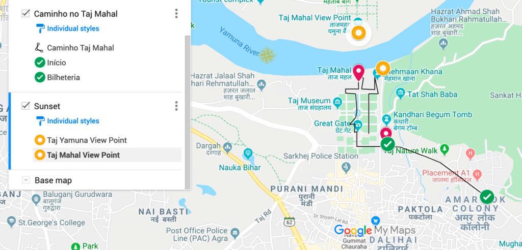 Caminho a percorrer pelo Taj Mahal