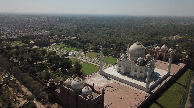 Vista aérea do Taj Mahal
