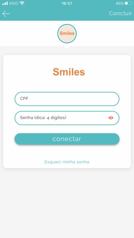 Forneça as informações de login do programa