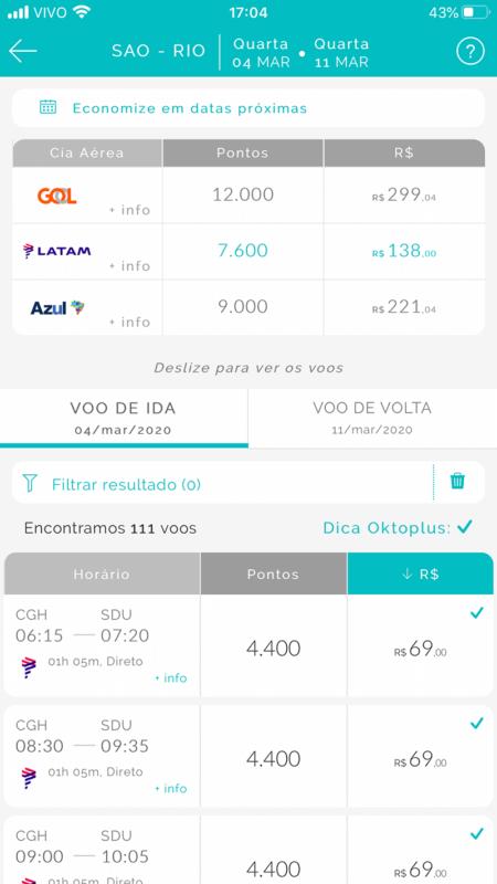 Detalhes dos voos no aplicativo do Oktoplus