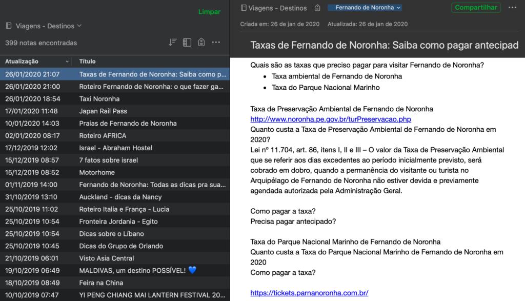 informações de viagens passadas e futuras no Evernote