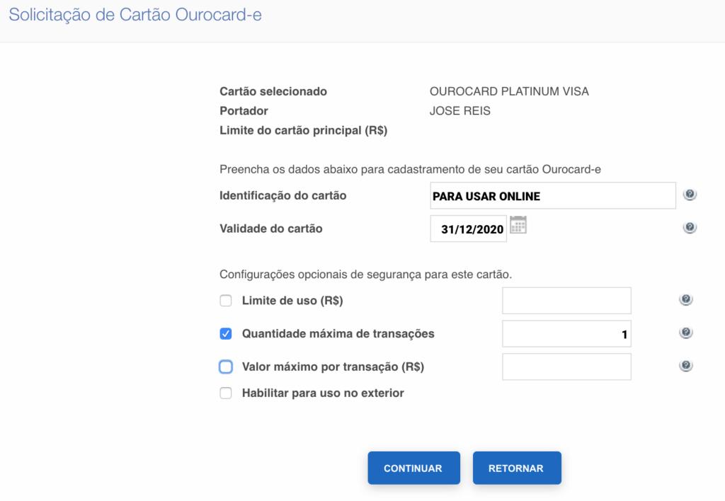 Criando cartão de crédito virtual para compras online