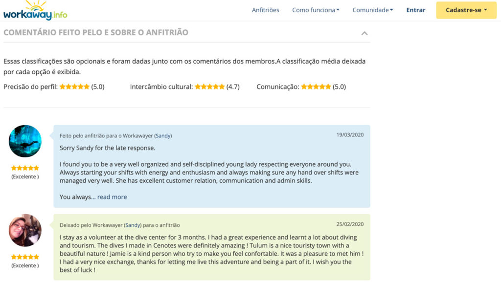 Comentários do anfitrião e voluntário na plataforma de Troca de trabalho por hospedagem