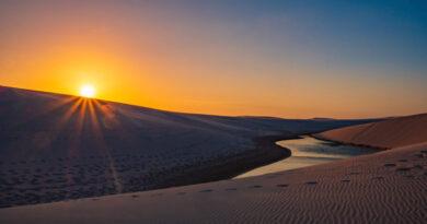 por do sol no parque nacional dos lençóis maranhenses