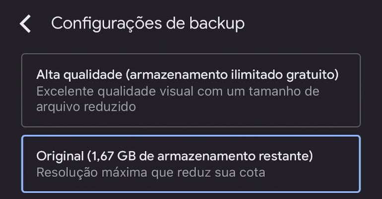 Backup de fotos com o google fotos